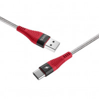 Кабель USB <-> USB 3.1 Type C, Hoco Unswerving steel braided, Black-Red, 1 м (U32) – интернет-магазин Microtron